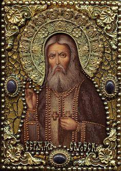 St Seraphim Of Sarov Miracle Worker Painting by Michael Razdolsky Religion, Spirited Art, Vash, Hail Mary, Orthodox Icons, Catholic, Mona Lisa, Spirituality, Statue