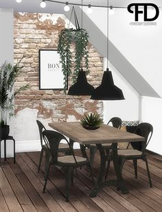 Stephanie's Industrial Dining Room - Happy Birthday to me Gift!This set includes: • Dining Table • Dining Chair - 6 Swatches • Ceiling Lamp • Hanging Ivy Plant - 3 Swatches • Wall - 2 Swatches All credits go to the original mesh creators. Recoloring...