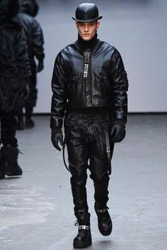 A Clockwork Orange served as the inspiration behind KTZ's fall-winter 2015 collection. The brand presented its latest offering during London Collections: Men… Uni Fashion, Fashion Week 2015, Mens Fashion Week, Thrift Fashion, Fashion Moda, Fashion Line, Dark Fashion, Leather Fashion, Love Fashion