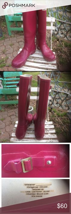 Hunter tall glossy Violet Rainboots A true test of love and affection for a gray pair of Hunter Rainboots. These have definitely been well loved and show a lot of wear.  That said, they are still a pretty shade of Violet.  Lots of scratches  and pitting from wear.  That said, they are still watertight.  And from a distance, they really still show nicely.  Here's a chance to buy a pair of Hunters that toy really won't mind to wear in the rain and mud, and save your best hunters for less…