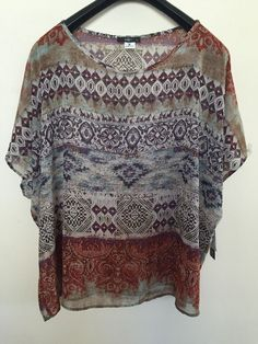 NWT FREESHIPPING ING 2X Woman print dolman sleeve sheer blouse/top #ING #Blouse