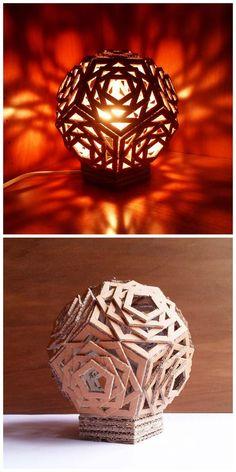 DIY cardboard lamp- 15 DIY Cardboard Crafts In Your Home- Medium materials Cardboard Furniture, Cardboard Crafts, Paper Crafts, Cardboard Design, Cardboard Boxes, Diy Furniture, Furniture Design, Cardboard Playhouse, Fireplace Furniture