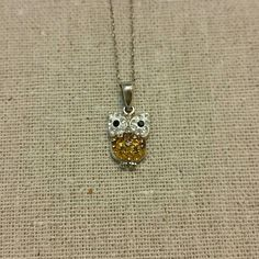 Sparkly mini owl pendent necklace The cutest little owl necklace ever.   Received a lot of compliments when I wore it out in the sun because it kept on sparkling.   Adds a little delicate touch to any outfit. Jewelry Necklaces