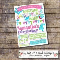Splish Splash Backyard Bash Birthday Party Invitation Summer Pool Pink Teal Girl Digital Printable