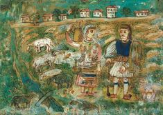Shepherd Athanassios and wife Malamou / oil on canvas Greek Paintings, 10 Picture, Greek Art, Naive Art, Outsider Art, Oil On Canvas, Folk, History, Illustration