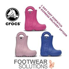 Our Crocs Kids HandleIt Rainboots are just sooo cute. They fit kids sensitive feet well too! Crocs Shoes, Exercise For Kids, Toddler Shoes, Digital Camera, Baby Items, Rubber Rain Boots, Preschool, Footwear, Autumn