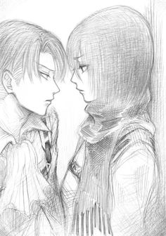 "Attack on Titan ~~ ""Leave him alone. He's mine. I mean it."" :: Rivaille (Levi) and Mikasa Ackerman"