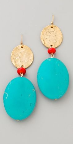 Kenneth Jay Lane Satin Gold Coin & Stone Earrings love these