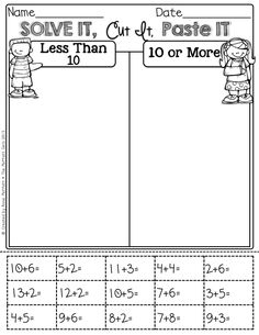 Worksheet Cut And Paste Worksheets For First Grade equation teaching and facts on pinterest solve it cut paste sort i want to think of a way modify for grade math