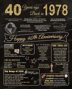 1978 - 40th Anniversary Chalkboard Sign Poster - INSTANT DOWNLOAD - Our chalkboard anniversary sign is filled with facts, events, and fun tidbits from 1978. Its a super fun keepsake and makes a truly special gift or party decoration. Simply print and use as is, or put in a frame.