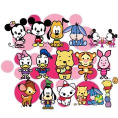 Disney Cuties #illustration #kawaii #disney #disneycuties #marie #aristocats #bambi #goofy #winniethepooh #daisy #donald #mickeymouse #minniemouse #pluto