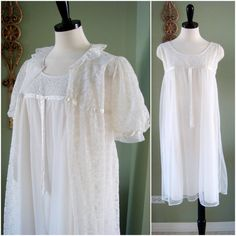 Baby Doll Nightgown Set White Lace Peignoir by Flourisheshome