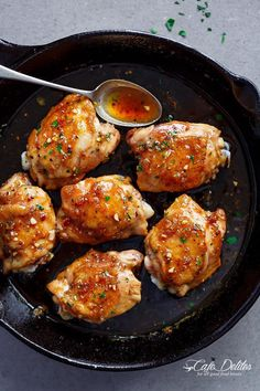Easy Honey Garlic Chicken | http://cafedelites.com -  6 chicken thighs, bone in or out, with or without skin* Salt and pepper, to season 2 teaspoons garlic powder, to season 6 cloves garlic, crushed ⅓ cup honey ¼ cup water (or chicken broth) 2 tablespoons rice wine vinegar 1 tablespoon soy sauce