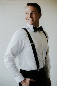 The groom in black suspenders and bowtie | Image by Phylicia Willis Photography Groomsmen Suspenders, Bowtie And Suspenders, Groom And Groomsmen, Bow Tie Wedding, Wedding Men, Wedding Trends, Wedding Ideas, Moon Wedding, Celestial Wedding
