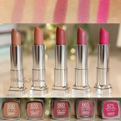 New Maybelline Color Sensational Creamy Matte Lipstick Swatches I want daringly nude and nude embrace . CVS and Walgreens and Target is cheapest