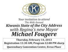 Attend the 46th Annual Kiwanis State of the City Address with Mayor Michael Fougere #yqr #regina #mayorfougere