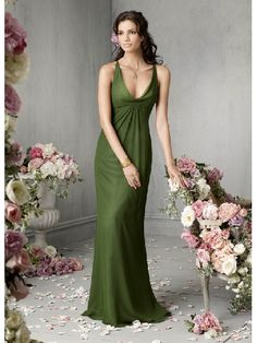 Cheap salable Floor Length Green Straps Sexy Simple Bridesmaid Dress In Canada Bridesmaid Dress