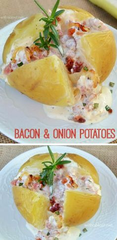 Ultra creamy, Bacon and Onion topped Potatoes ~ serve as an appetizer or side dish #appetizerrecipe #potatorecipes