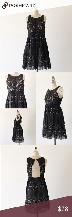 """FREE PEOPLE   Lace Mini Dress FEATURES: •Scoop neck •Sleeveless •Partially exposed back •Side invisible zipper •Pleated skirt •Fully lined •100% polyester •Made in India  MEASUREMENTS: Bust - 32"""" Waist - 28"""" Hips - 38"""" Length - 32 1/2""""  ☑️Very good condition ✖NO TRADES/RESERVES/MODELING 2017-03-06 Free People Dresses Mini"""