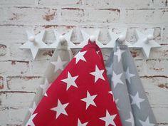 Garderobe Charlotte, 5 Sterne, Stars als Kleider Haken / Garderobenhaken in weiß
