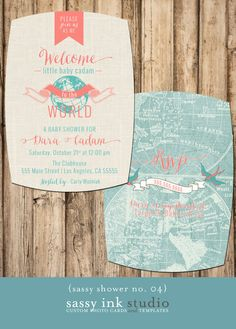Welcome to the World Little One Customized Baby Shower Invitation - 5 x7 (baby shower no. 04)