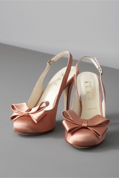 Bow Topped Slingbacks in Blush. Lush, nearly glowing silk satin from Something Bleu. BHLDN