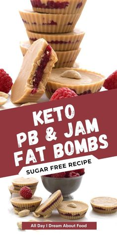 Low carb peanut butter and jam? Heck yeah! These tasty peanut butter fat bombs are full of healthy keto fats and taste like your favourite childhood sandwich. So easy to make too! Low Carb Sweets, Low Carb Desserts, Easy Desserts, Low Carb Recipes, Easy Appetizer Recipes, Healthy Dessert Recipes, Delicious Desserts, Snack Recipes, Sugar Free Treats