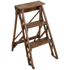Small-Scale Early 20th Century French Oak Library Ladder with Maker's Stamp
