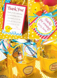 Party Favor Ideas.  Hostess with the Mostess always has some brilliant ideas for any theme imaginable!  from http://blog.hwtm.com/2012/11/cute-bubbly-rubber-ducky-birthday-party/#