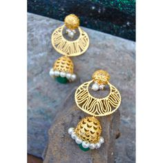 Matte Gold Chand Jhumkas with Emerald Drop