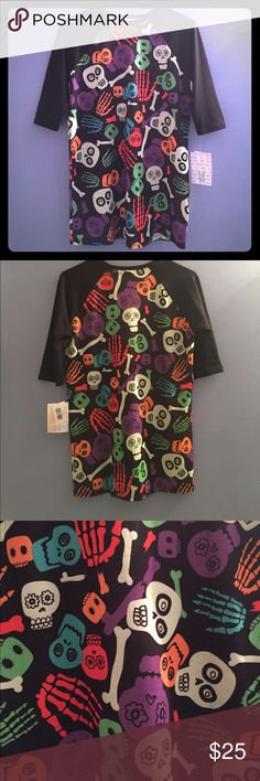 Lularoe Halloween Sloan 👻💀🎃 Brand New! Sugar skulls, skeleton hands and bones in a variety of colors: purple, green and very light green, orange, red orange, and turquoise. Size: 14, but could fit an adult size xS-small. LuLaRoe Shirts & Tops Tees - Long Sleeve