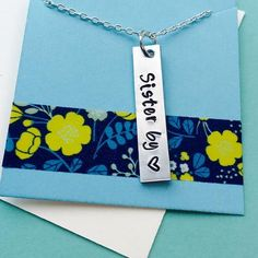 Best Friends Necklace, Sister by Heart Necklace, Best Friend, Best Friend Gift, Hand Stamped Friend Necklace