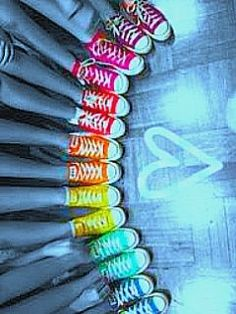 A Rainbow of Converse! Fun idea for a bridal shower/bachelorette party picture with your girls!
