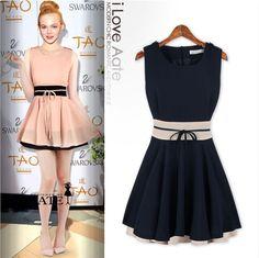 fc1b36ed7d94d4 Aliexpress.com   Buy 2014 New Fashion Slim Waist Women Summer Dress  Sleeveless Chiffon Casual Dress Cute Bow Mini Sexy A Line Dresses S M L  D601A9 from ...
