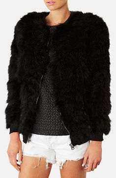 Topshop Feather Bomber Jacket available at #Nordstrom