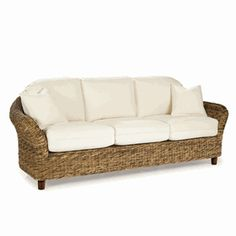 Tangiers #Seagrass #Sofa | #tropical #couch #beige | www.wickerparadise.com/seagrass.html