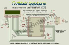 DS1307-RTC-Interfacing-with-AVR ATmega16 Microcontroller-and-LCD-Display Circuit Diagram ABLab Solutions