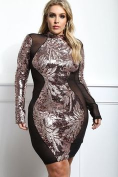 Detail View 1 : FANCY PARTY PLUS SIZE SEQUINED BODYCON DRESS