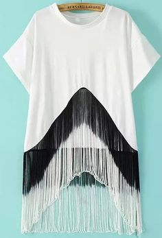 SheIn offers White Short Sleeve Tassel Loose Blouse & more to fit your fashionable needs. Lace Shorts, White Shorts, Blouses For Women, Jackets For Women, Iranian Women Fashion, T Shirt Diy, Blouse Styles, White Tops, Diy Clothes