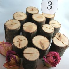 12 Rustic Table Number Holders Wedding Table Decor by texturemix, $80.00