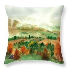 Transylvanian Autumn Throw Pillow featuring the painting Transylvanian Autumn by Olivia C
