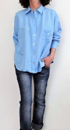 Coldwater Creek Linen Cotton Button Pocket Detailed Oversize Shirt Blue Sz M #ColdwaterCreek #ButtonDownShirt
