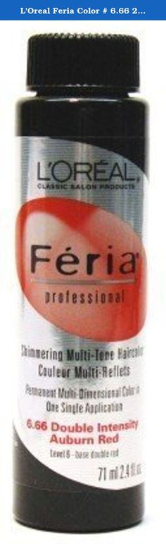 L'Oreal Feria Color # 6.66 2.4 oz. Double Intense Auburn Red (Case of 6). Feria easy-to-use permanent gel haircolor has a no-drip formula and gives you multi-dimensional shim. This highly expressive color appeals to a multi-cultural, unisex clientele. Feria Color is not designed to cover gray.25-minute auto processing makes it easy to use. 25-minute auto processing makes it easy to use. Mix with Feria Professional Black to Medium Blonde shades.
