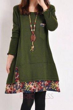 múltiples algodón color mosaico floral dobladillo más tamaño vestidos Varios vestidos