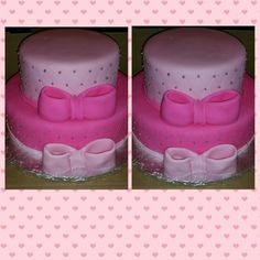 Pink on pink 2 tier cake
