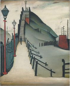 'A Footbridge' (1938) by British artist L.S. Lowry (1887-1976). Oil on canvas, 21 x 17 in. source: Christie's. via NY Review of Books