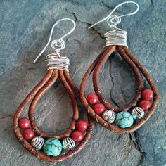 Turquoise magnesite, red howlite, silver tone beads and brown leather Sundance-style earrings & by Boho Jewelry Boutique, $24.00