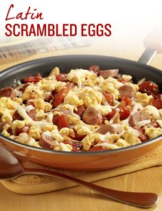 Fire up your morning routine with our Latin Scrambled Eggs. A scrambled egg recipe with Vienna sausage, fire roasted tomatoes and Chihuahua cheese, seasoned with cumin that's full of Latin flavor!