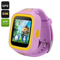 Fly Bird GPS Tracker Kids Watch Phone  Quad Band GSM TwoWay Communication Geo Fencing 144 Inch TFT Touch Screen Pedometer Purple ** Check out this great product.