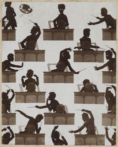 Gustav Mahler conducting in silhouette.   Otto Buhler 1900